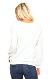 Women's Crewneck Sweatshirt with Patterned Sleeves