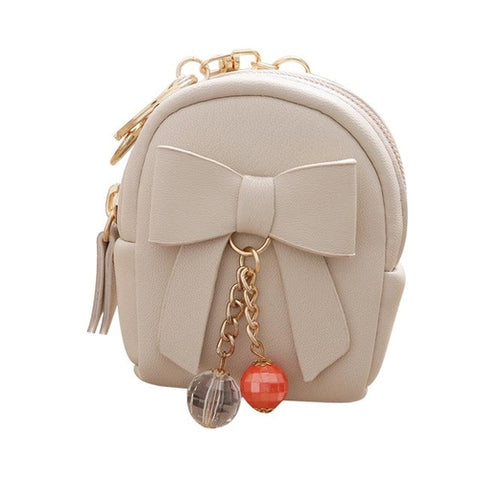 Small Purse Women lovely Bow Zipper Key Bag Short