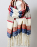 Super Soft Oversized Blue Tassel Scarf