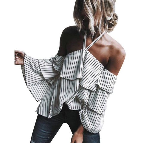 Off Shoulderl Striped Top