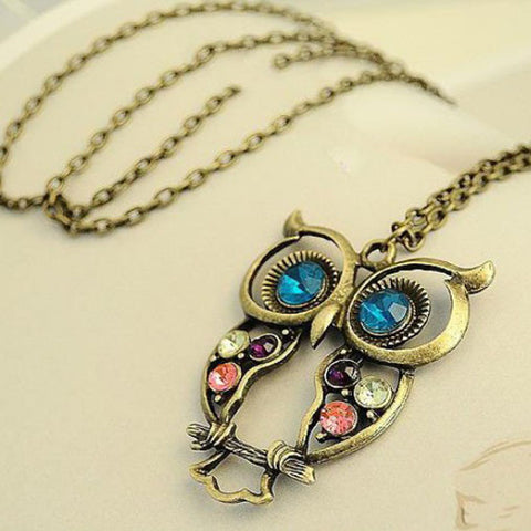 #5 Lady Crystal Blue Eyed Owl Long Chain Pendant Sweater Coat Necklace
