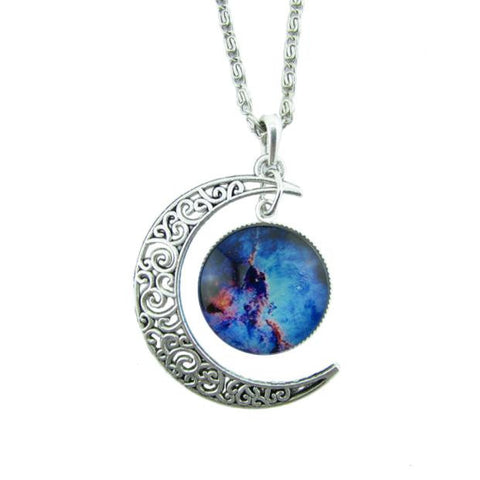 #4 Antique Vintage Moon Time Necklace Sweater Chain Pendant Jewelry