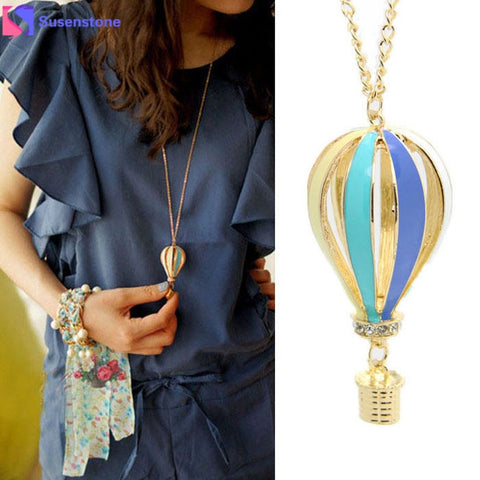 #2 New Fashion Colorful Jewelry Aureate Drip Hot Air Balloon Pendant Long Necklace