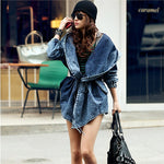 Women's  Long Sleeves Denim Trench Coat Hooded  Jean Jacket - Free Size