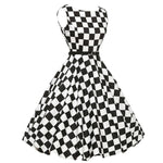 Vintage Plaid Bodycon Sleeveless Casual  Dress