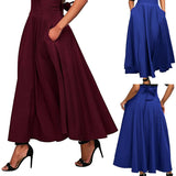 A High Waist Pleated A Line Long Skirt Front Slit Belted Maxi Skirt