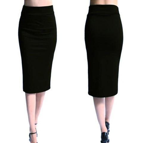 Solid High Waist Skinny Stretchy  Pencil Skirts
