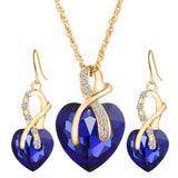 #1 Top Austrian Crystal Gold Color Jewelry Sets For Women Heart Necklace Earrings Set
