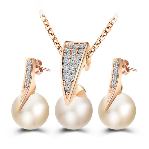 #8  Necklace Earrings Set Women Gold Color Pearl Rhinestone Crystal Pendant Choker
