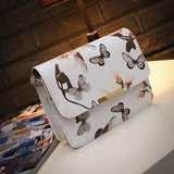 Floral leather Shoulder Bag Satchel Handbag Retro Messenger Bag