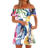 Women Off Shoulder Short Sleeve Print Dress Ladies Casual Loose Party Dresses