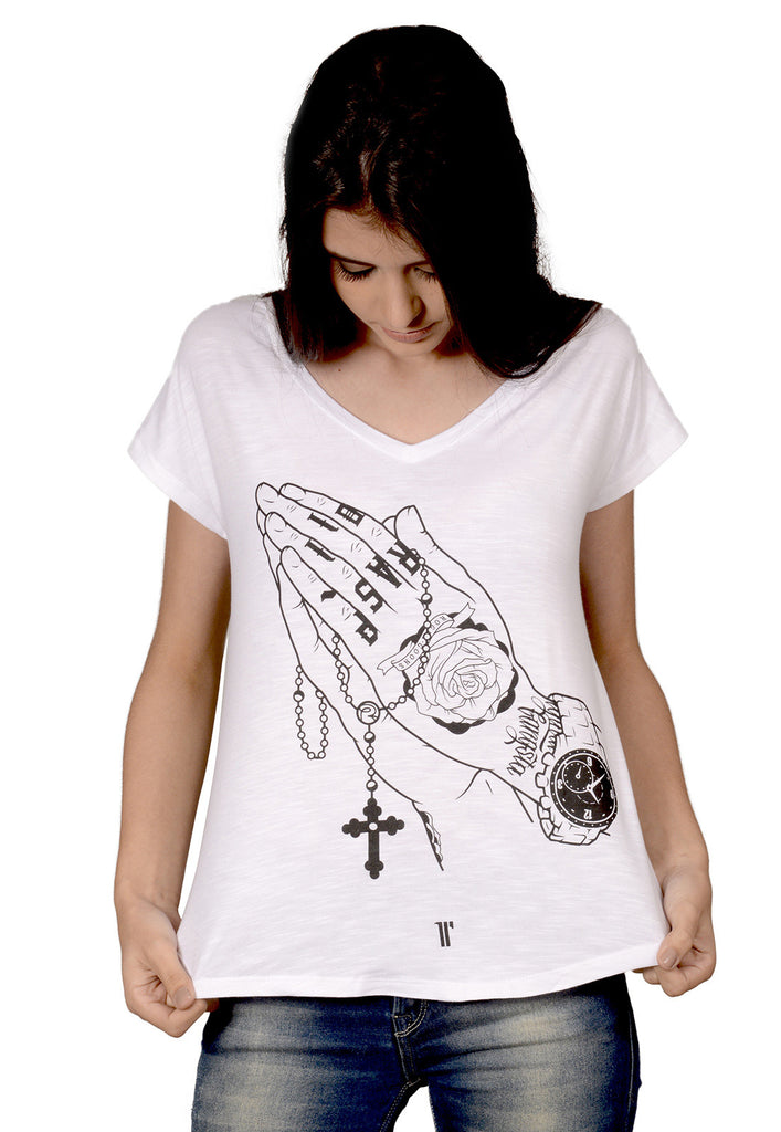 Camiseta Rogue Praying Hands Branca