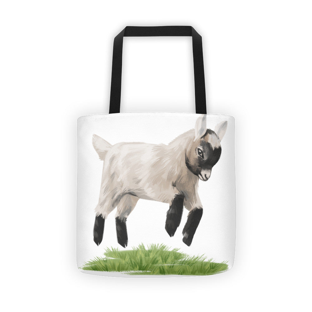 Jumping Baby Goat Tote Bag