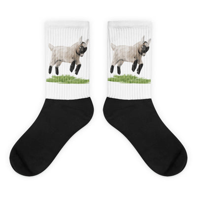 Jumping Baby Goat Black Foot Socks
