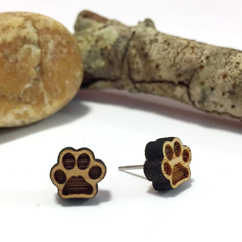 Paws - Puppy - Pet - Bamboo Stud Earrings
