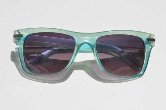 Round Sunglasses Summer Aqua Blue with Dark Lense front