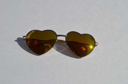 Heart Shape Sunglasses Metallic  Mirrored Tinted Yellow Frames Large