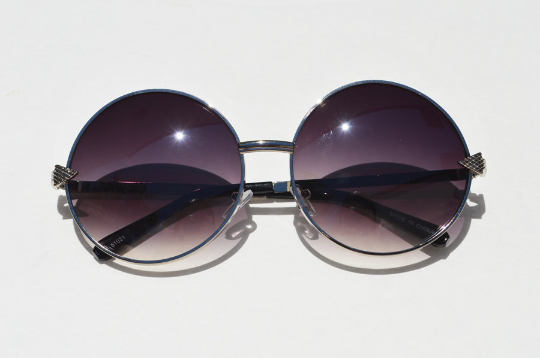 Round Janis Joplin 1970s Sunglasses silver front view