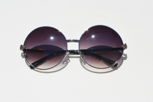 Round Janis Joplin 1970s Sunglasses silver head view2