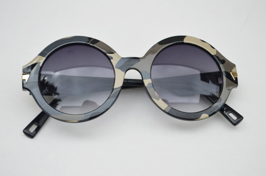 Round Army Camouflage Print Sunglasses front view