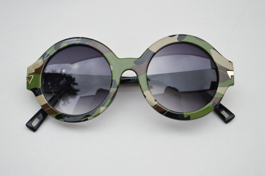 Round Army Camouflage Print Sunglasses main view