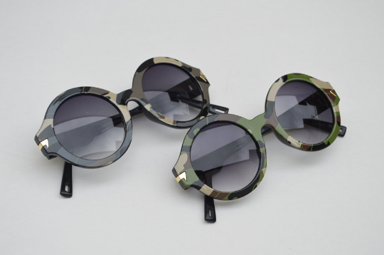 Round Army Camouflage Print Sunglasses combo view