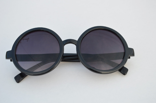 Round Sunglasses Black retro Classic front