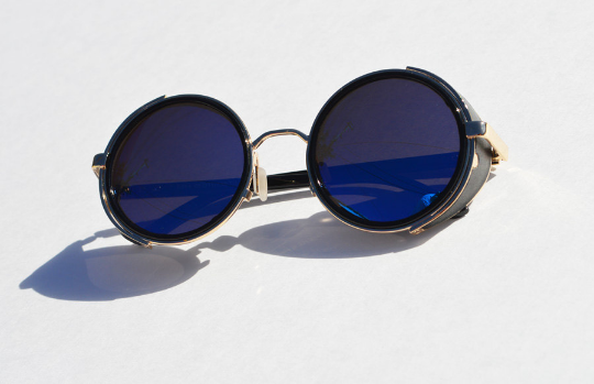 Round Steampunk Blue and Gold Sunglasses main view