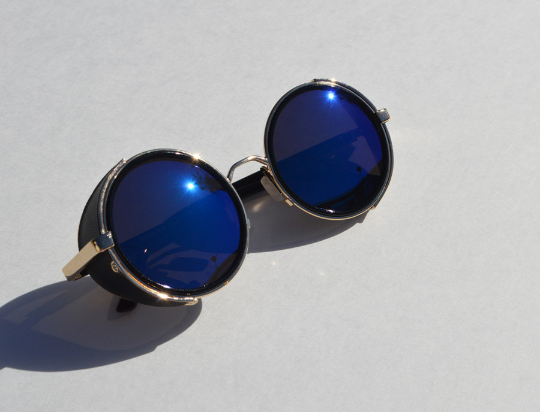Round Steampunk Blue and Gold Sunglasses view