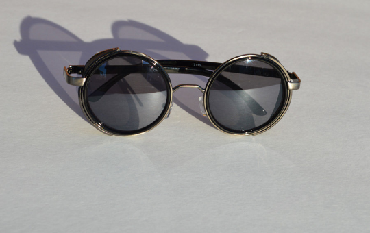 Round Steampunk Sunglasses in Black Gunmetal front view