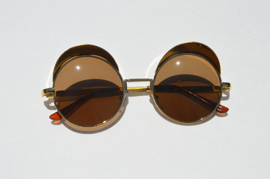 Round Steampunk Metallic Sunglasses In Gold main view