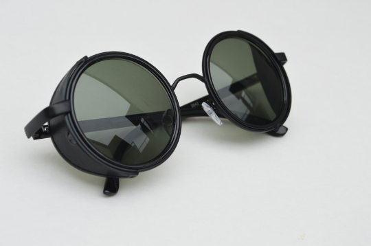 Round Steampunk Jett Black Sunglasses Cool Unique Eyewear