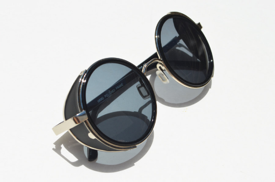 Round Steampunk in Silver Black Sunglasses side view