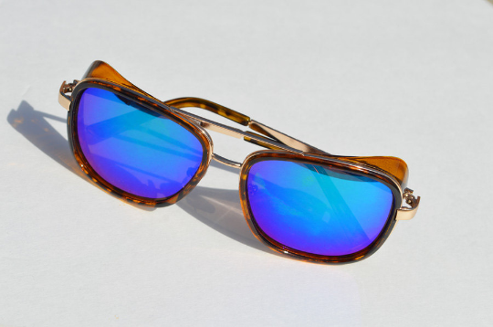 Round Unisex Cool Tortoise Multi Color Tinted Frames With Silver Details Sunglasses