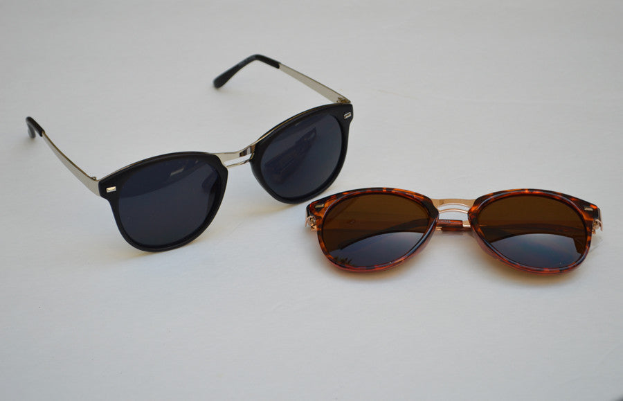 Round Cateyes Minimal Eyewear Unisex Black or Brown Sunglasses