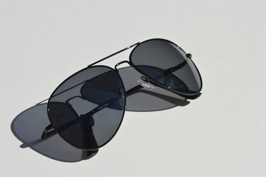 Oversized Classic Aviator Black Dark Lense Minimal Sunglasses