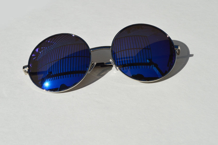 Oversized Round  Sunglasses Janis Joplin 1970s Metallic Blue main
