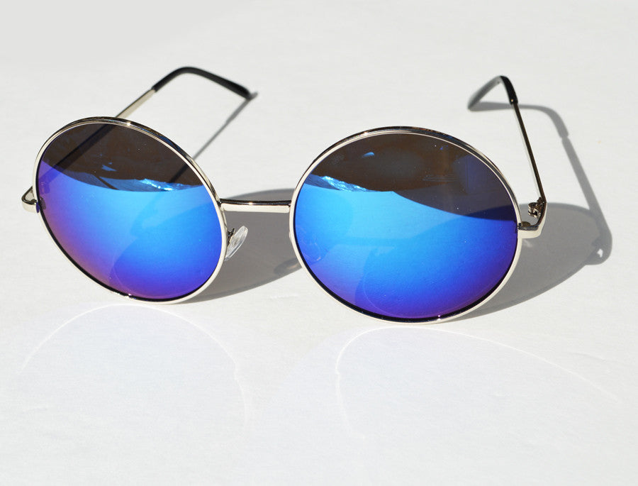 Oversized Round  Sunglasses Janis Joplin 1970s Metallic Blue