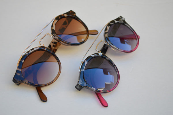 Round Minimal Sunglasses in Pink or Brown side view