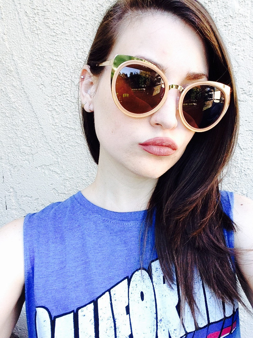 Cat Eye Metallic Sunglasses Tortoise headshot