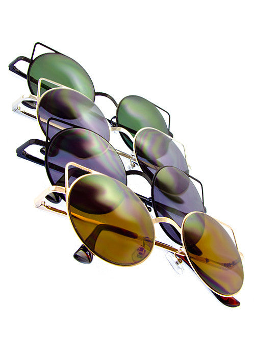 Cat Eye Space Invaders Round Metal Cutout Sunglasses main