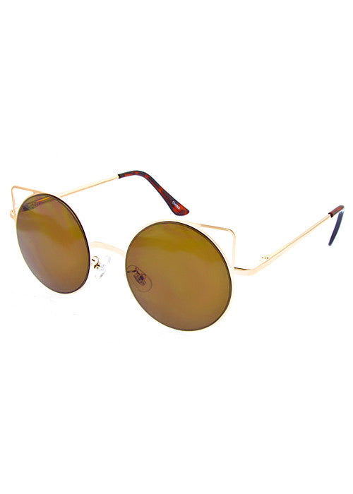 Cat Eye Space Invaders Round Metal Cutout Sunglasses Gold