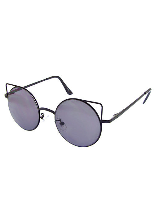 Cat Eye Space Invaders Round Metal Cutout Sunglasses Black