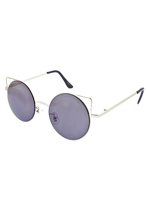 Cat Eye Space Invaders Round Metal Cutout Sunglasses Silver
