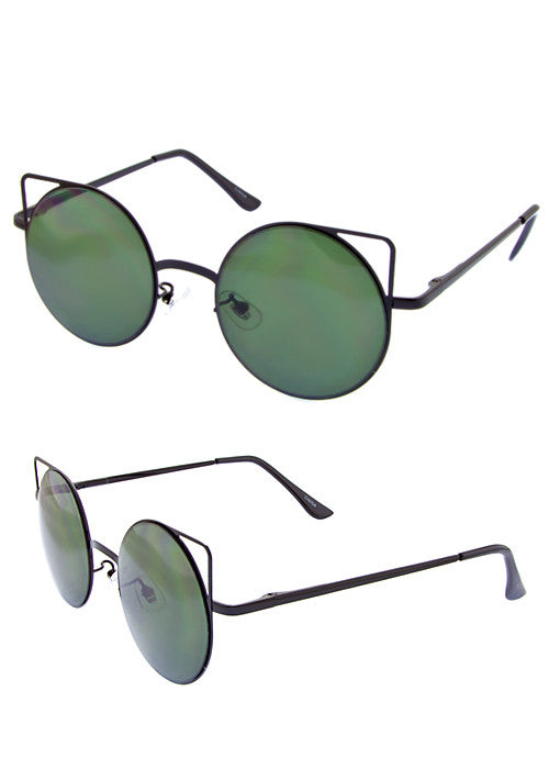 Cat Eye Space Invaders Round Metal Cutout Sunglasses Green