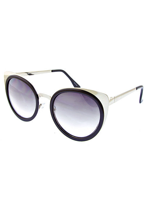 Cat Eye Metallic Sunglasses Silver