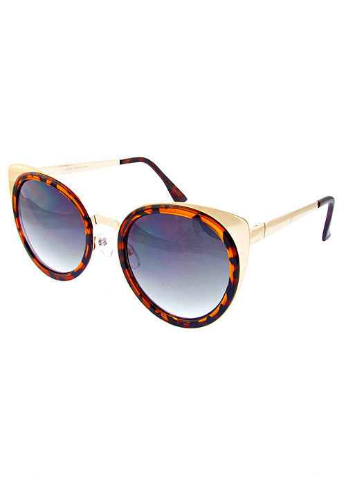 Cat Eye Metallic Sunglasses Tortoise