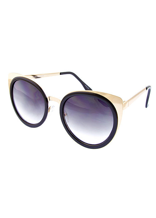Cat Eye Metallic Sunglasses Black