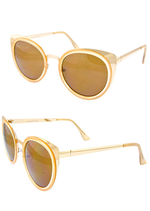 Cat Eye Metallic Sunglasses Gold