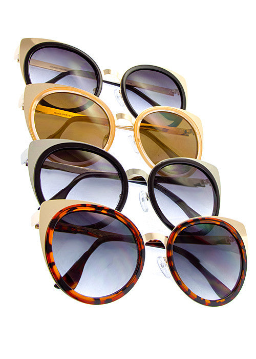 Cat Eye Metallic Sunglasses combo